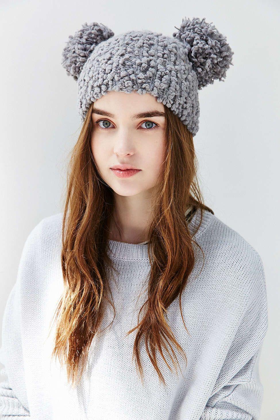 Women s Winter Trendy Warm knit Beanie Hat with Pom Pom Ears (Beige).  Animal Ears Beanie  UrbanOutfitters ebcaba3eaa1b