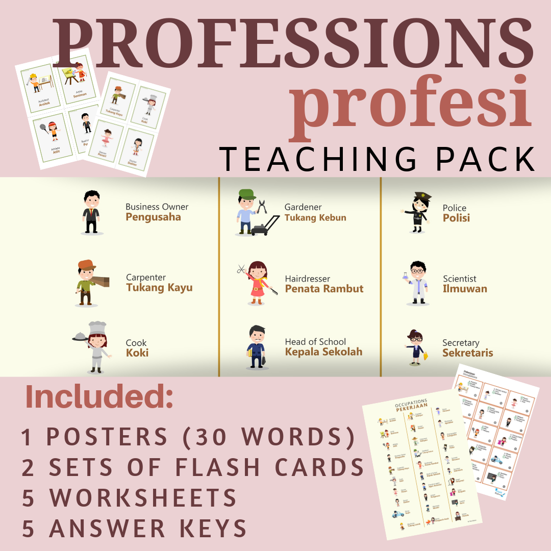 Jobs Amp Occupations Indonesian Class No Prep Poster