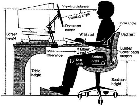The Correct Sitting Posture In Front Of A Computer Ergonomic Desk Computer Desk Height Ergonomic Office