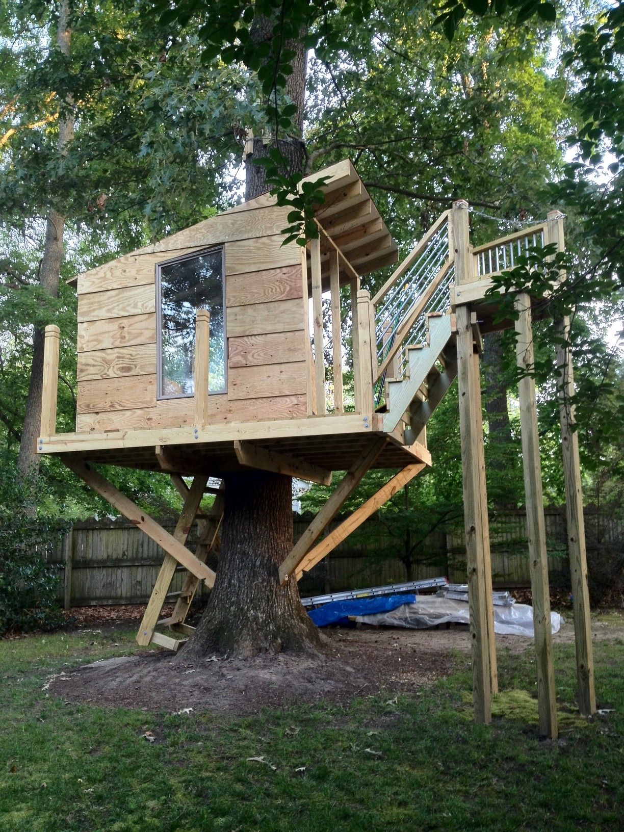 my hubby u0027s latest project in the works tree house with zip line