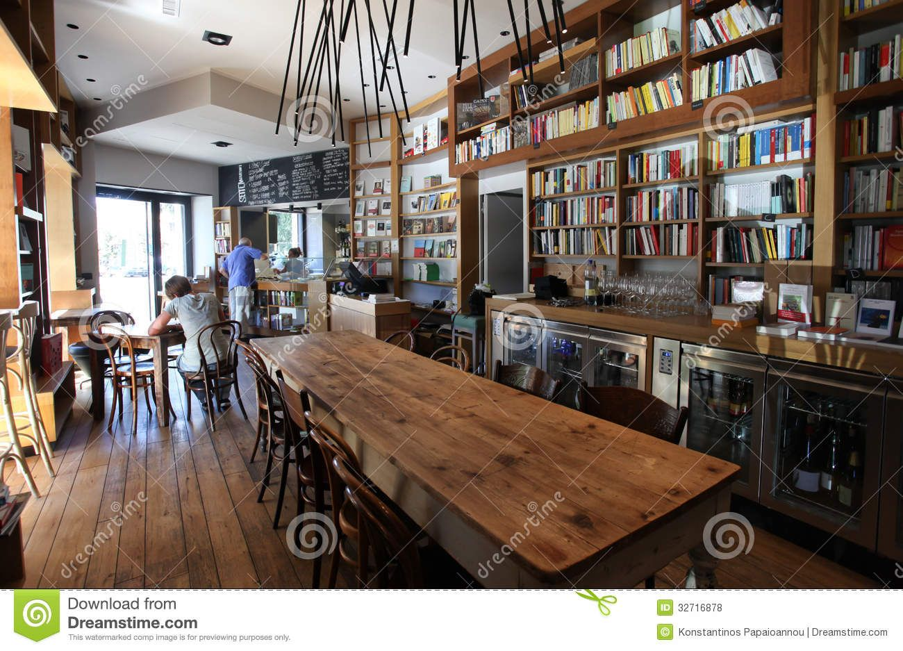 Interior View Of A Coffee And Tea Bar With Possibility To Read Books Magazines In