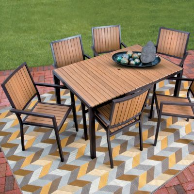 Faux Wood Aluminum Outdoor Furniture Patio Dining Sets