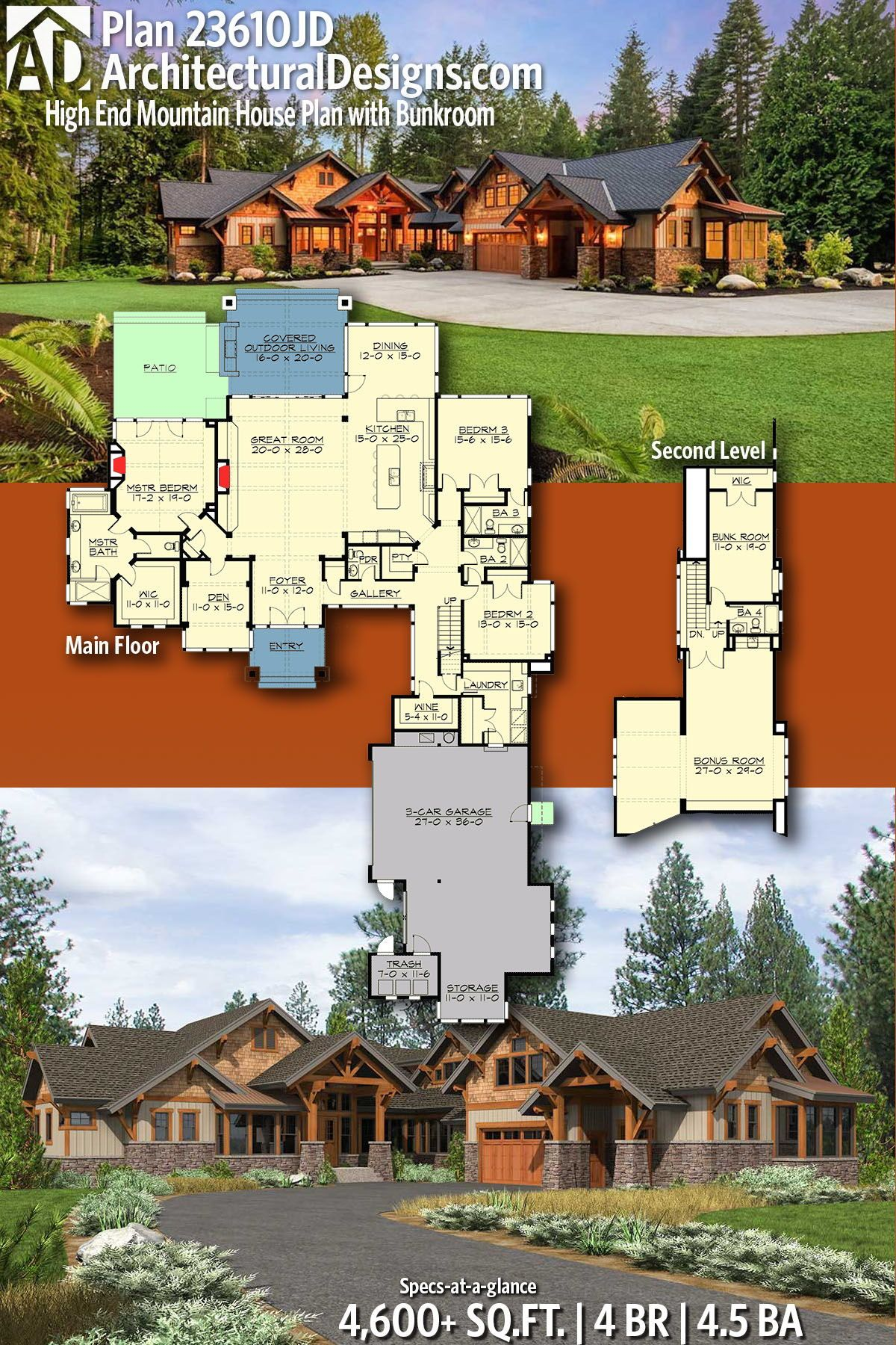 Plan 23610jd High End Mountain House Plan With Bunkroom Mountain House Plans House Plans Dream House Plans