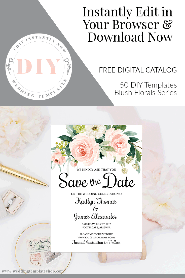 Save The Date Templates Blush Florals Edit Online Download And Print Save The Date Templates Diy Save The Dates Save The Date