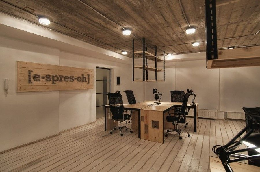 Office Interior Design with Bold Industrial Rendering in Modern Style :  Glorious Second Floor Interior Decor Idea General View With Wooden Flooring  And ...