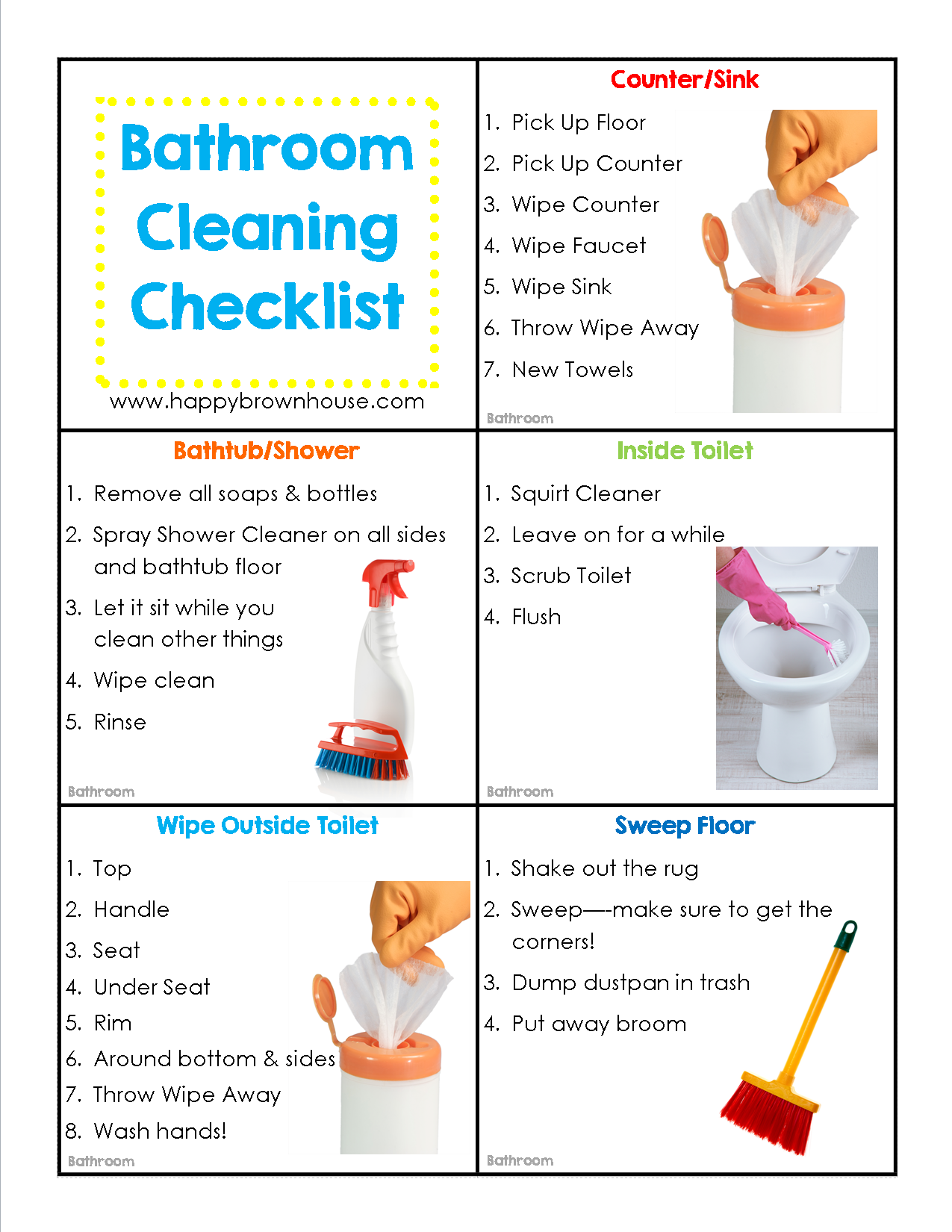 Epic image within printable bathroom cleaning checklist