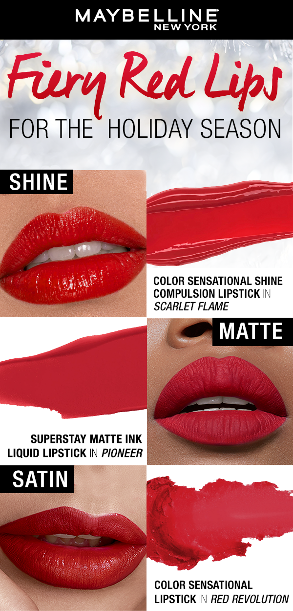 The Best Red Lippies For Every Holiday Party For A High Shine Pout Try Our Shine Compu Color Sensational Lipstick Maybelline Red Lipstick Red Liquid Lipstick