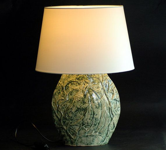 Beautiful Original Ceramic Lamp Base Hand Made With Clay Than Hand Carved Original Horse Theme Its Decorated With Green Ceramic Lamp Ceramic Lamp Base Lamp