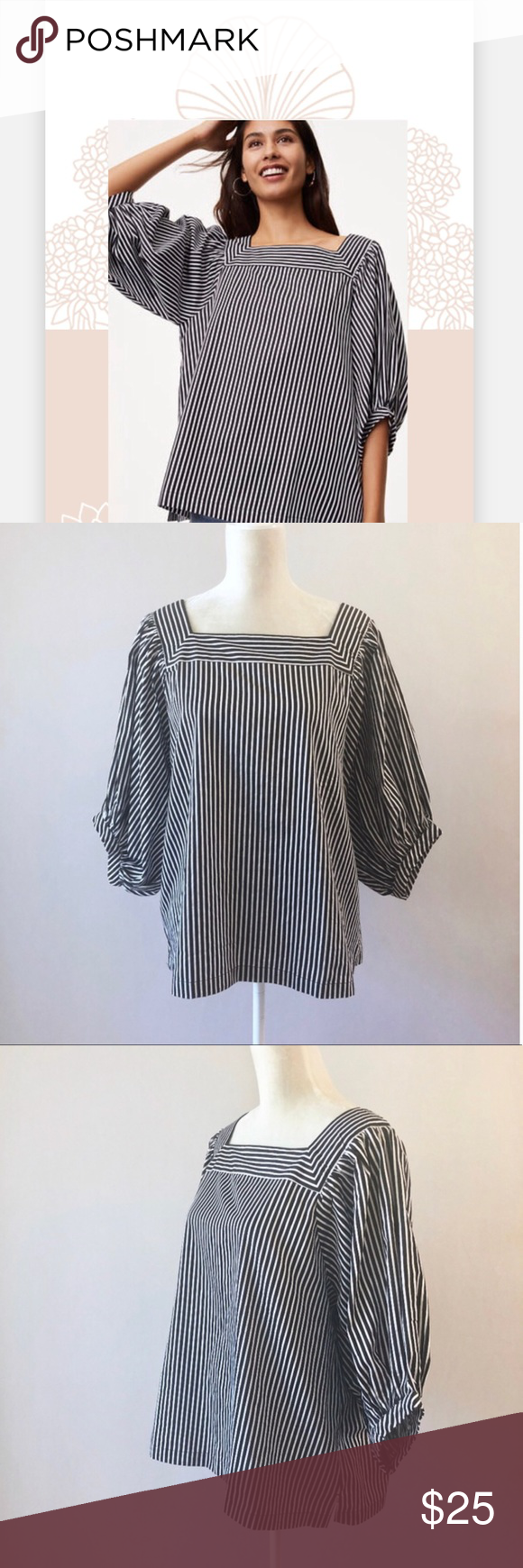 52ae0ddafa2d8b Loft Square Neck Striped Balloon Sleeve Blouse Gently Pre-Owned top from  Ann Taylor LOFT. Lightweight 100% cotton. Black and white stripes.