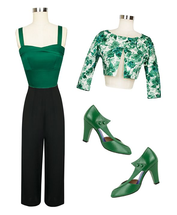 Mix it up with separates and pair the bolero with the green stretch Trixie Top and black Lounge Pants. This outfit is both extremely comfortable and pulled-together. The luxe green pepper Eva Pumps by Re-Mix finish the look flawlessly!