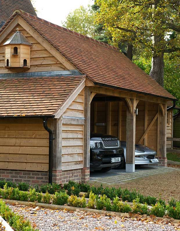 an oak frame garage by Border Oak Building a shed