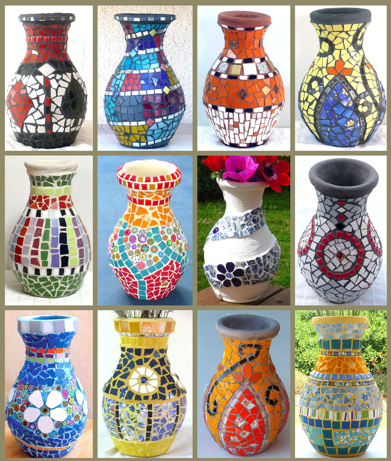 A Colorful Collection Of Mosaic Vases Same Shape