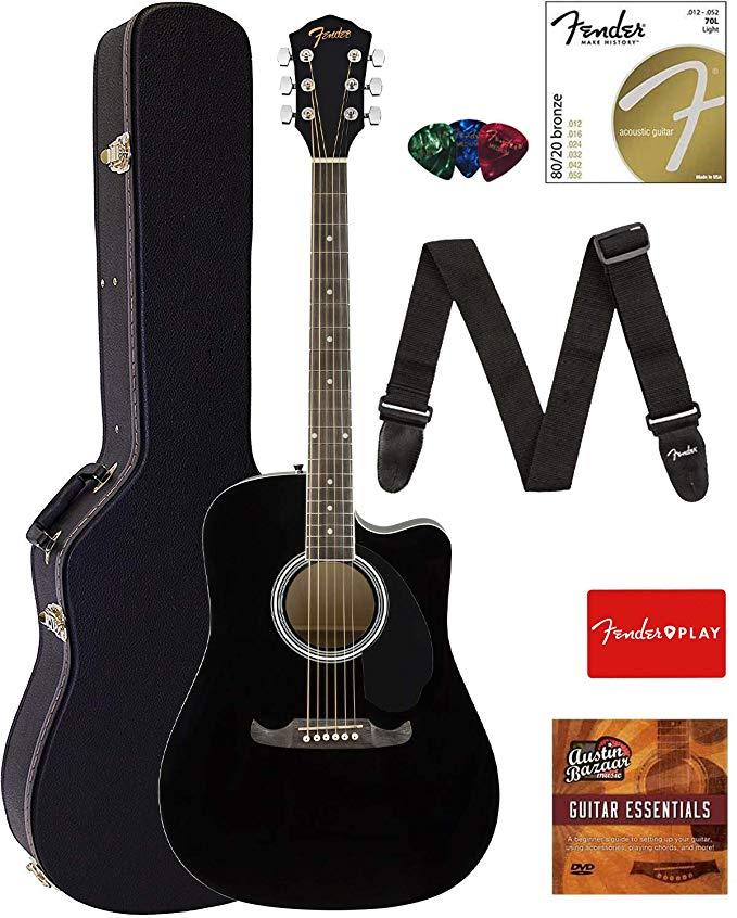 Fender Fa 125ce Dreadnought Cutaway Acoustic Electric Guitar Black Bundle With Hard Case Strap Strings P Acoustic Electric Guitar Acoustic Electric Guitar
