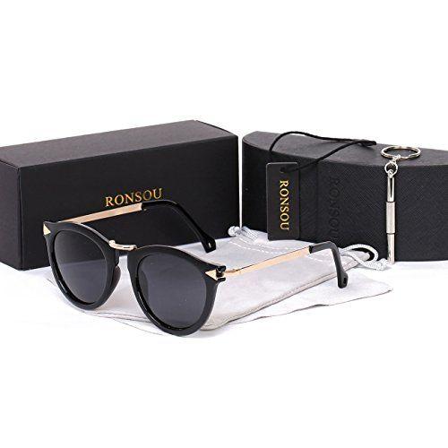 db7ddf54e6 Ronsou Womens Fashion Designer Polarized Sunglasses 100% UV400 Protection  Sun Glasses black frame gray lens
