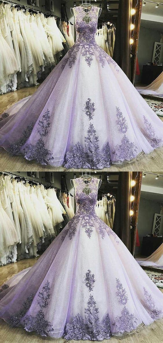 Elegant Tulle Prom Dress, Formal Ball Gown Prom Dresses, Appliques Evening Dress #tulleballgown
