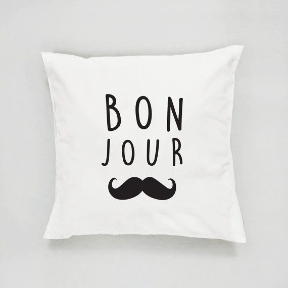 Bon Jour Pillow Typography Pillow French Decor by LovelyPosters