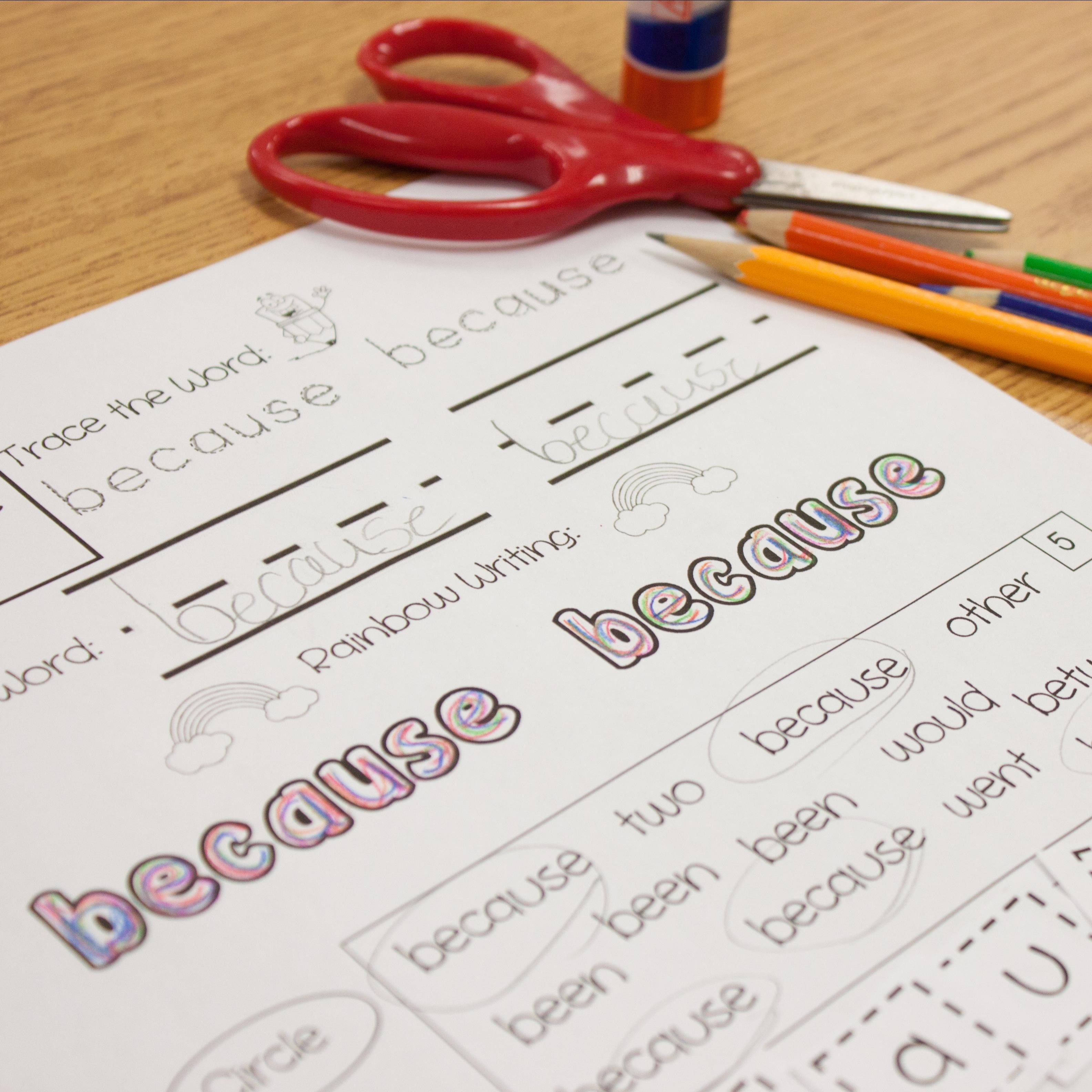 Multi Sensory Sight Word Practice Pages For The Complete