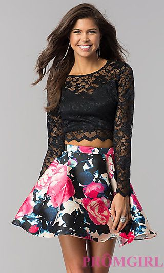 d5aed62e98 Lace Long-Sleeve Print-Skirt Short Homecoming Dress in 2019 | gotta ...