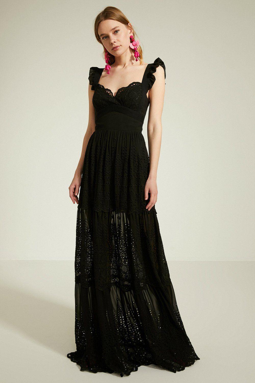 Koton Askili Zeynep Tosun For Koton Siyah Uzun Abiye Elbise Elbisebul Elbise The Dress Resmi Elbise