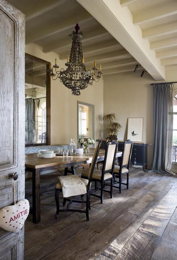 French Country Farmhouse ✣ Dining Room With Chandelier,a Must For The French,to  Give The Simple Rustic Decor French Chic!