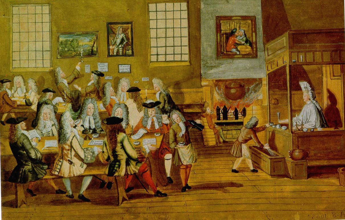 Coffee Art History A London Coffee House Interior Anonymous 1668 Maps