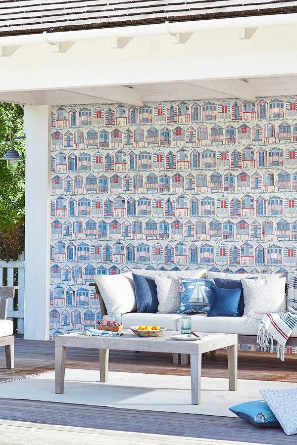 Beach Huts by Sanderson Nautical Wallpaper 216559