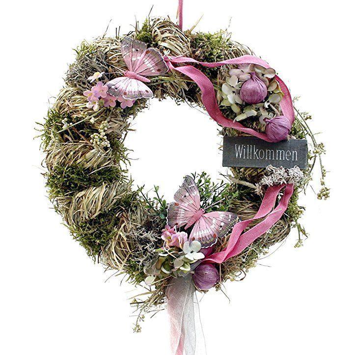 Photo of Round door wreath with butterflies ø 28 cm – spring – summer – welcome …
