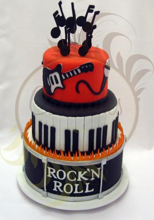 Happy Birthday Rock N Roll Themed Bolo Rock Interessante Mostrei