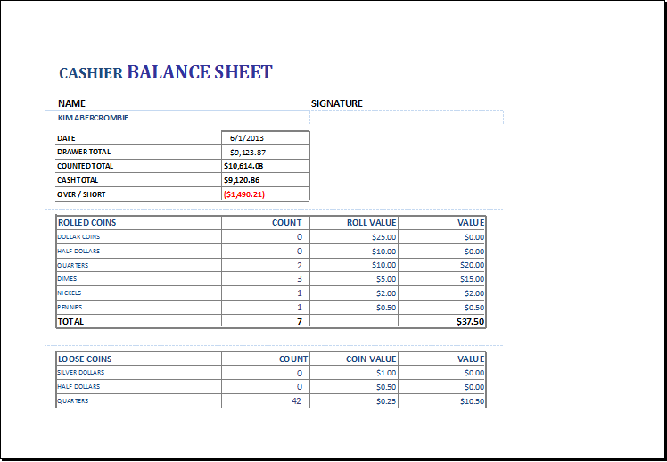 Cashier balance sheet DOWNLOAD at http://www.xltemplates.org/cashier ...