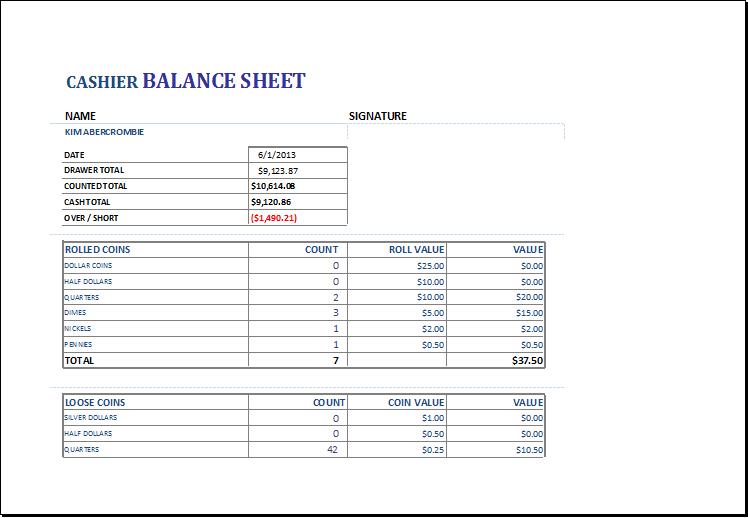 Cashier balance sheet DOWNLOAD at http://www.xltemplates.org/cashier ...
