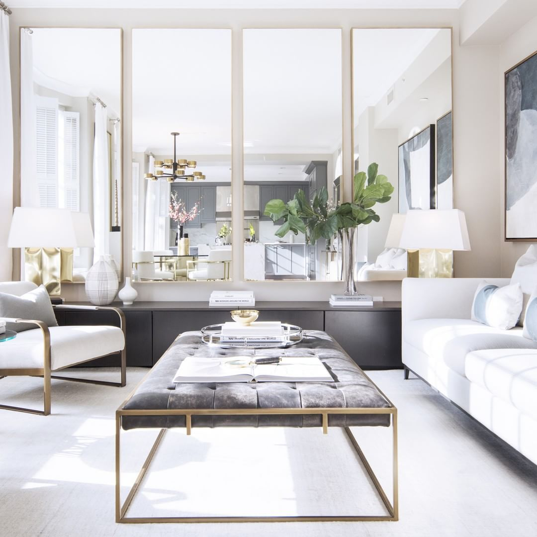 Mirrors Double The Visual Square Footage Of Any Room Design And Photography By Img Living Room Velve Apartment Decor Elegant Living Room Living Room Designs Mirror living room ideas