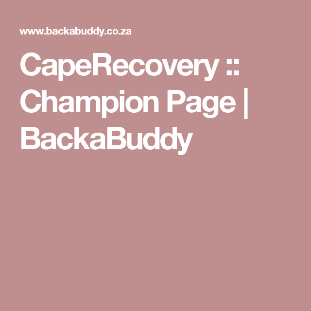 CapeRecovery :: Champion Page | BackaBuddy