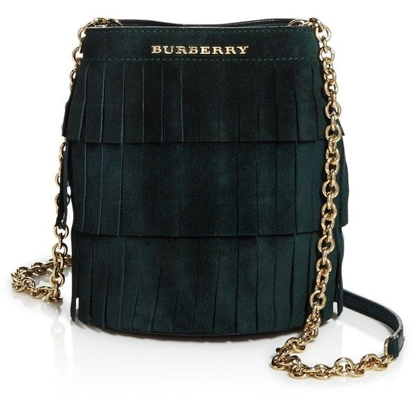 Burberry Fringe Suede Baby Bucket Bag ($895) ❤ liked on Polyvore featuring bags, handbags, dark forest green, black handbags, black bucket bag, green suede handbag, suede fringe purse and black fringe purse