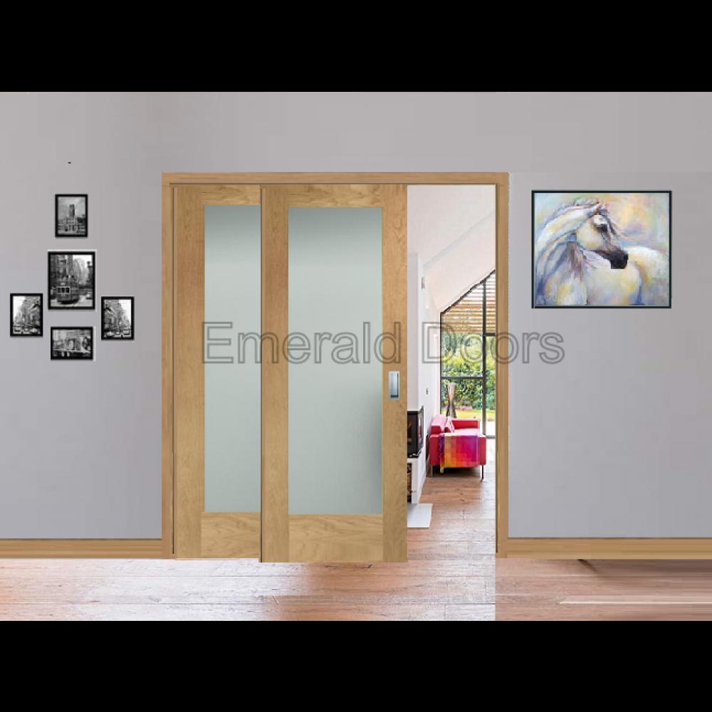 Oak Pattern 10 Sliding Door System With Fixed Panel Obscure Glass Custommade Internaldoor Sliding Door Room Dividers Room Divider Decorative Room Dividers