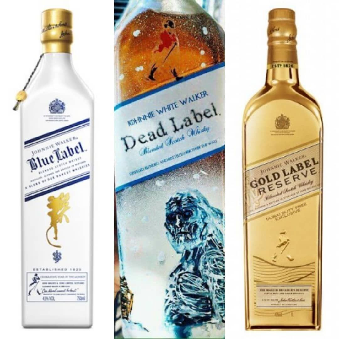 Johnnie Walkers Blue White Dead Gold Label Whisky That Awesome