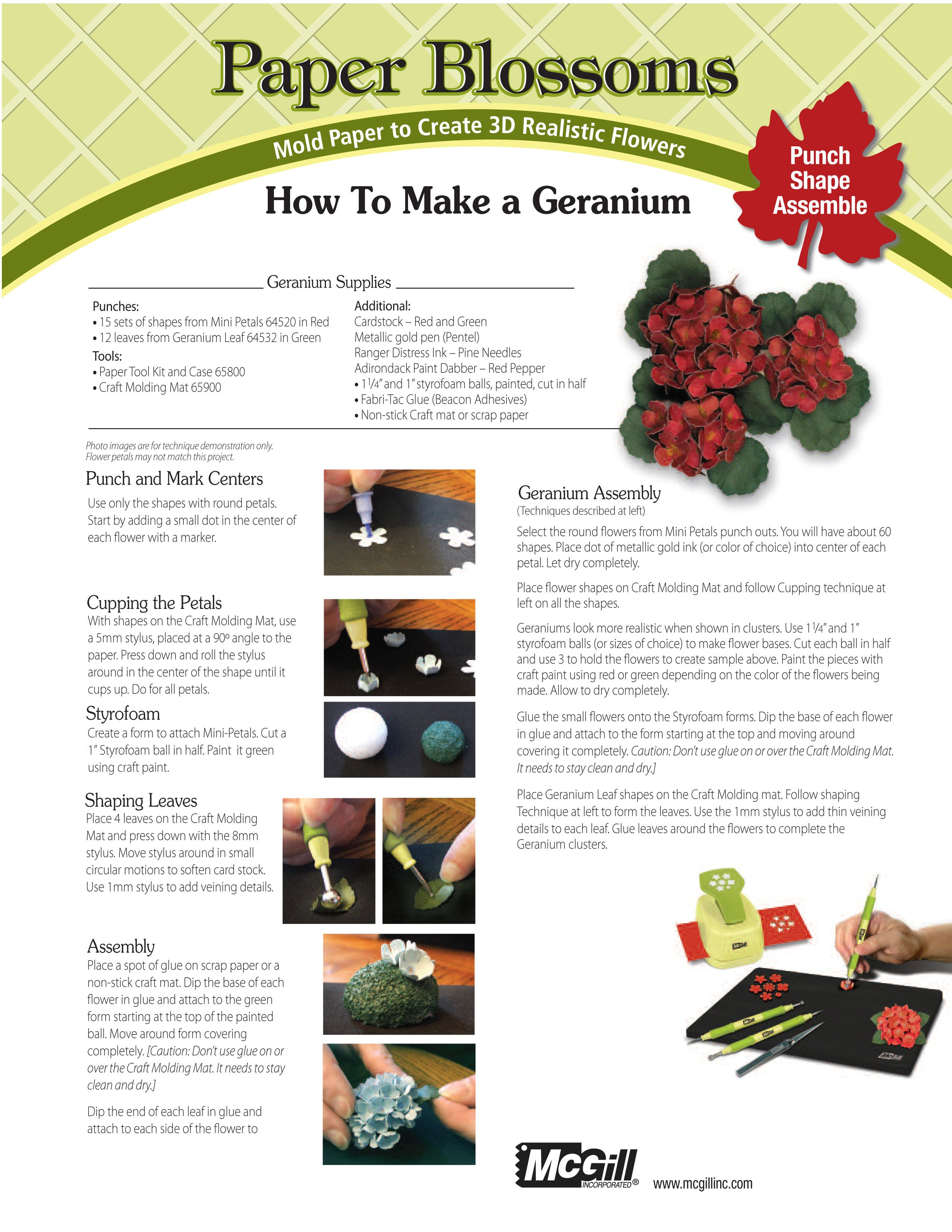 Paper Crafting A Geranium Punches Diecuts Emboss Pinterest