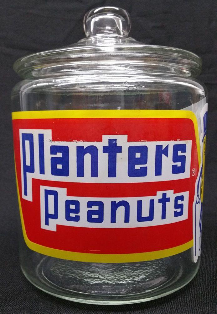 Vintage 1937 Glass Planters Peanut Jar With Lid Planterspeanuts Planters Peanuts Glass Planter Old Bottles