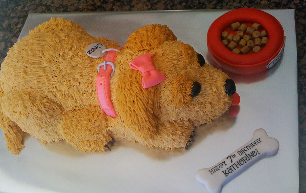 Admirable Birthday Cakes Golden Retreiver Dog Pet Cake Funny Shaped Puppy Personalised Birthday Cards Sponlily Jamesorg