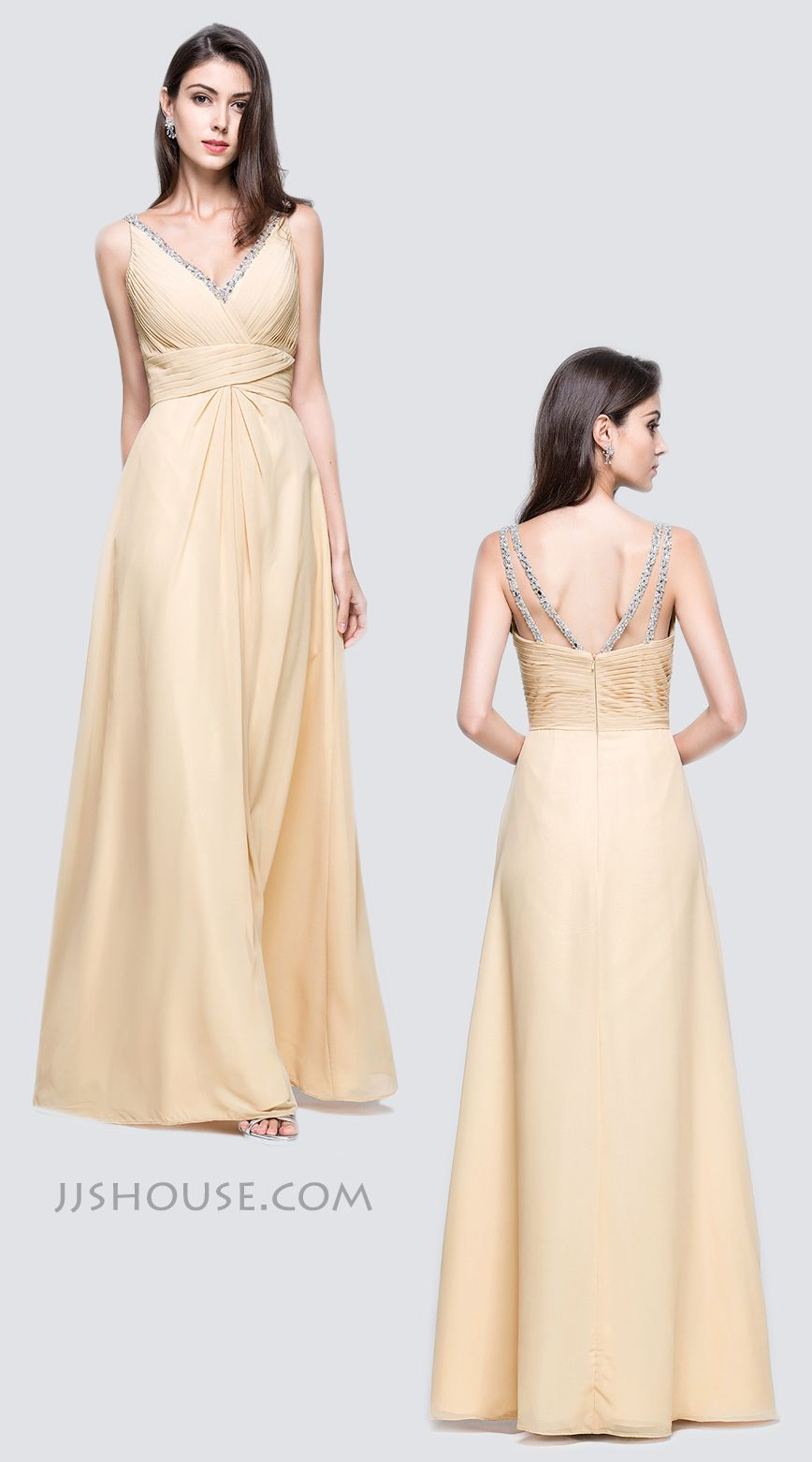 Alineprincess vneck floorlength chiffon prom dresses with ruffle
