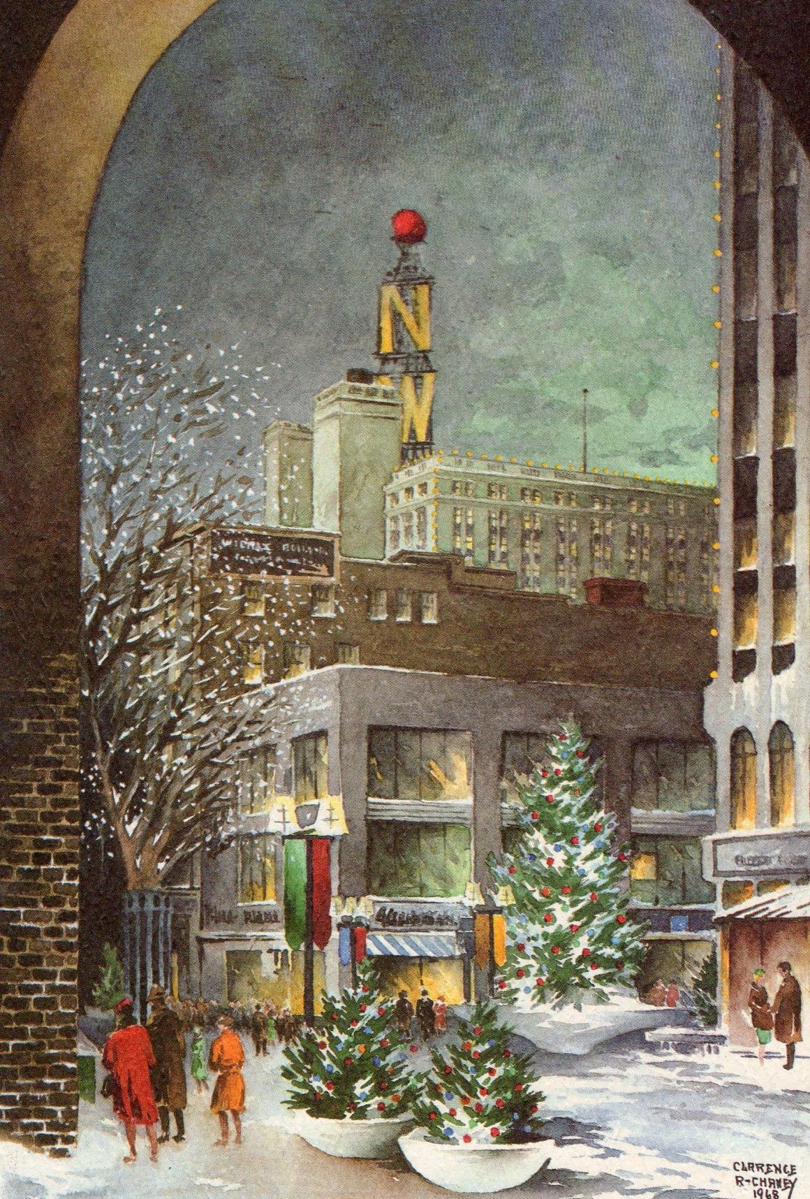 Christmas in downtown minneapolis 1968 image scanned by