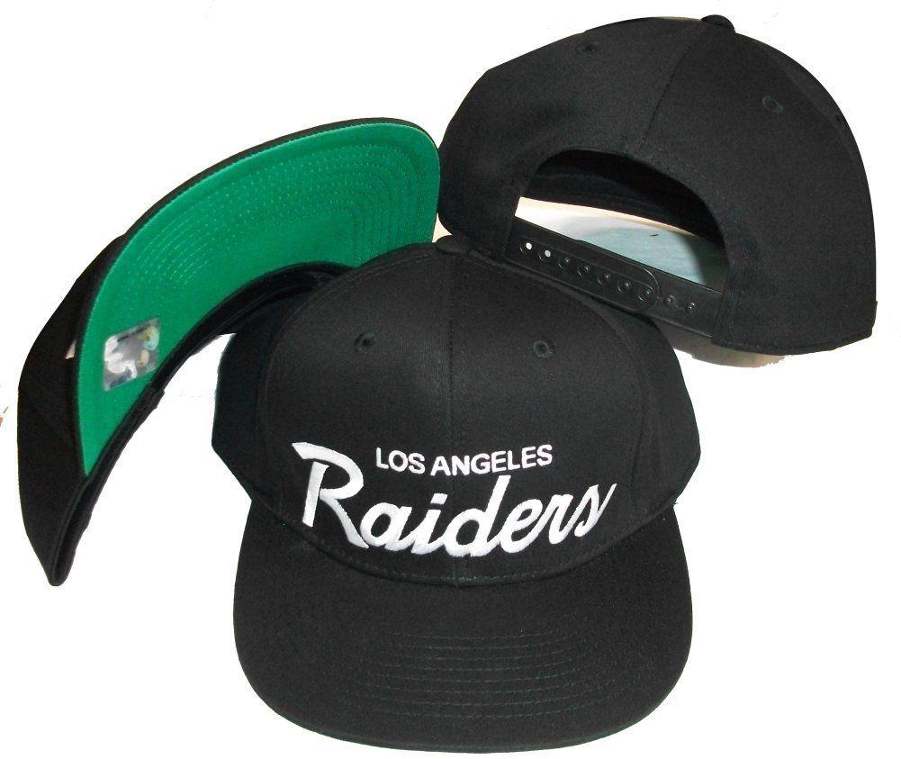 e205d0e506c9d5 Los Angeles Raiders Black Plastic Snapback Adjustable Plastic Snap Back Hat  / Cap