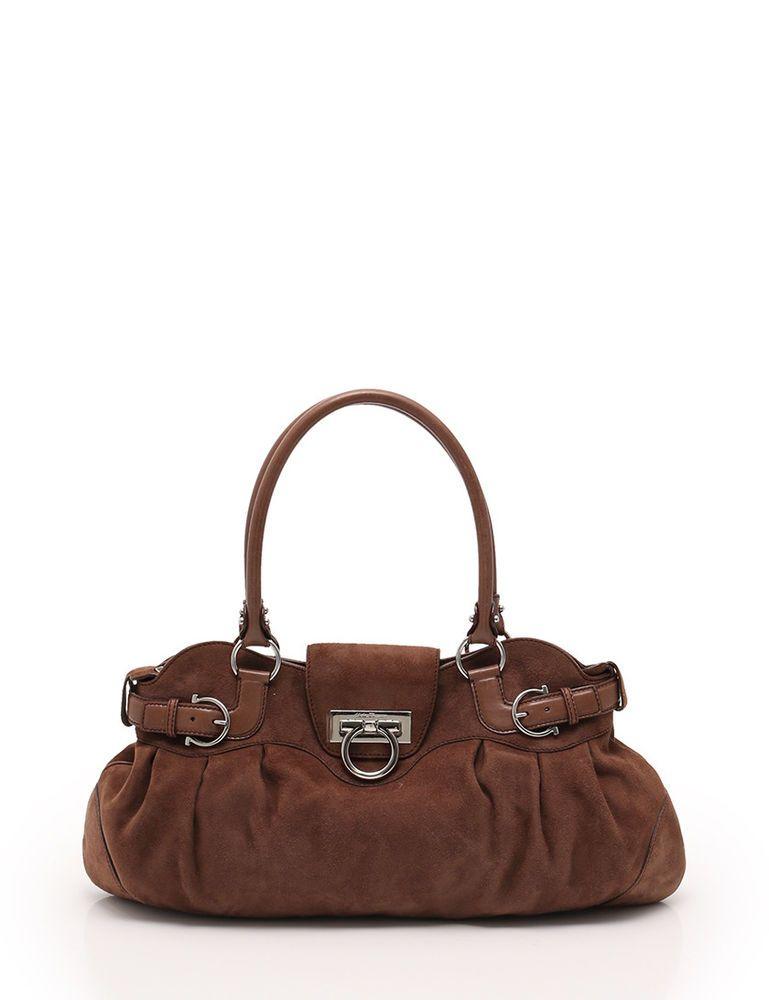 Salvatore Ferragamo Gancini shoulder bag suede leather brown  fashion   clothing  shoes  accessories  womensbagshandbags  ad (ebay link) 635ab229bc618