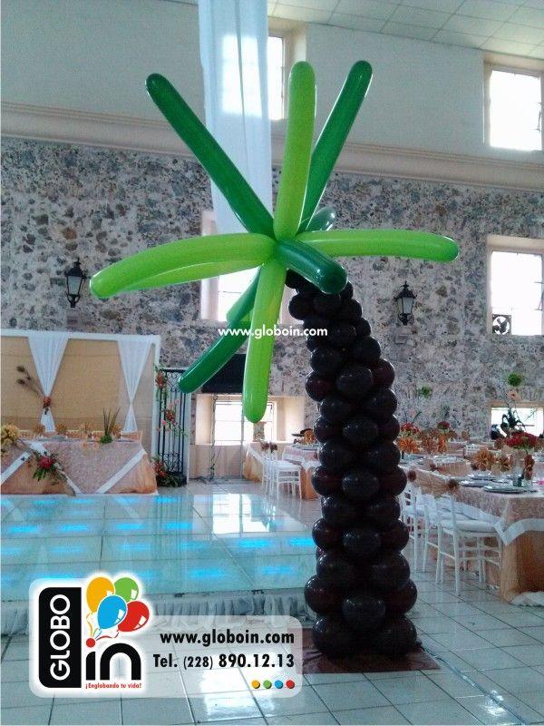Palmera de globos decoraciones para xv a os con globos for Decoracion de 15 anos con globos