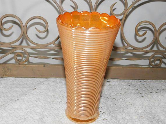 Vase Peach Lustre Fire King Anchor Hocking Vintage Vase Fire King