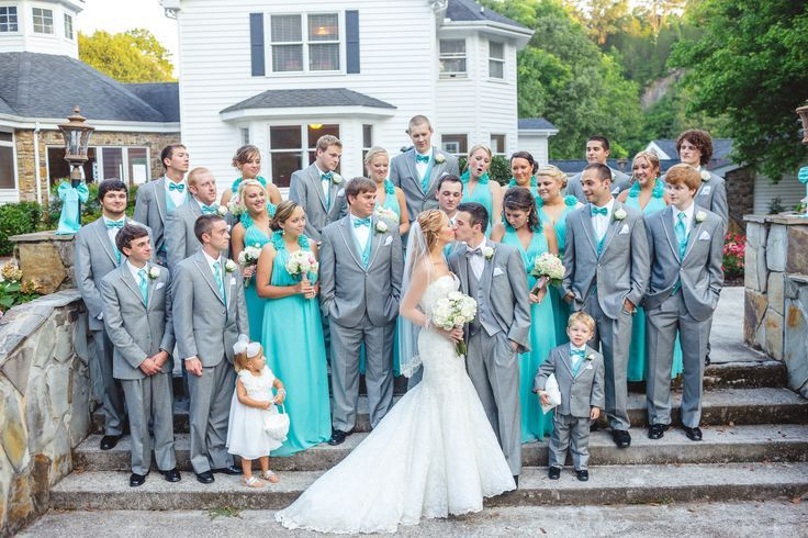 Grey And Tiffany Blue Wedding Party