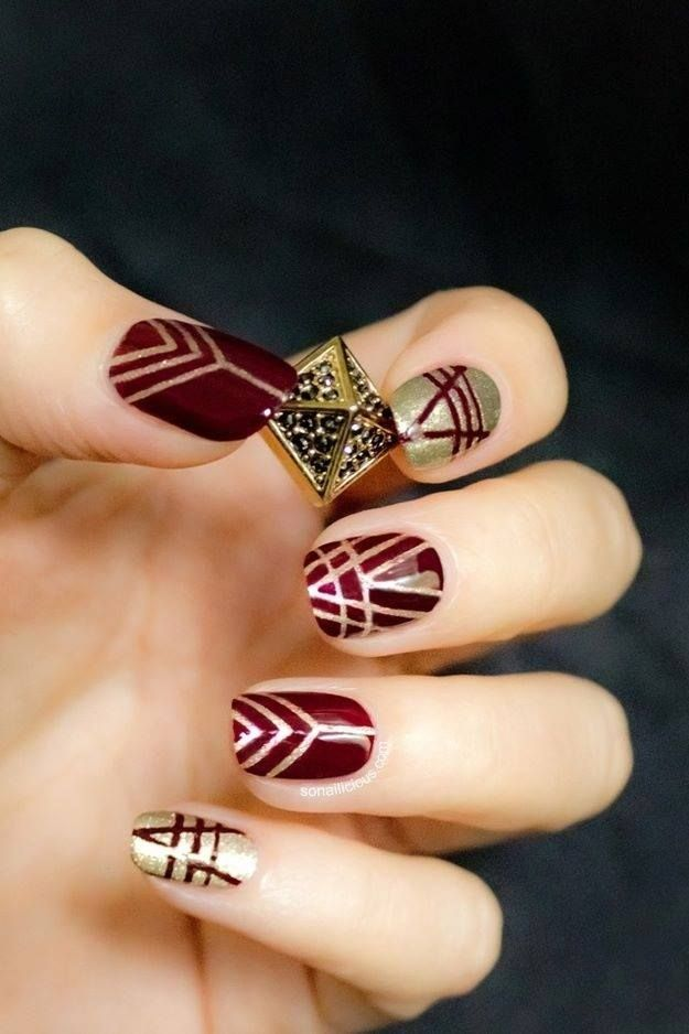 Art Deco mani in burgundy and gold: Inspired by the Art Deco period ...