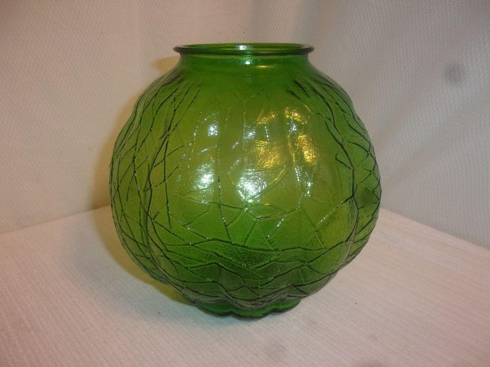Vintage Green Crackle Veined Glass Lamp Base 8 Wide Pretty Glass Lamp Base Glass Lamp Lamp Bases