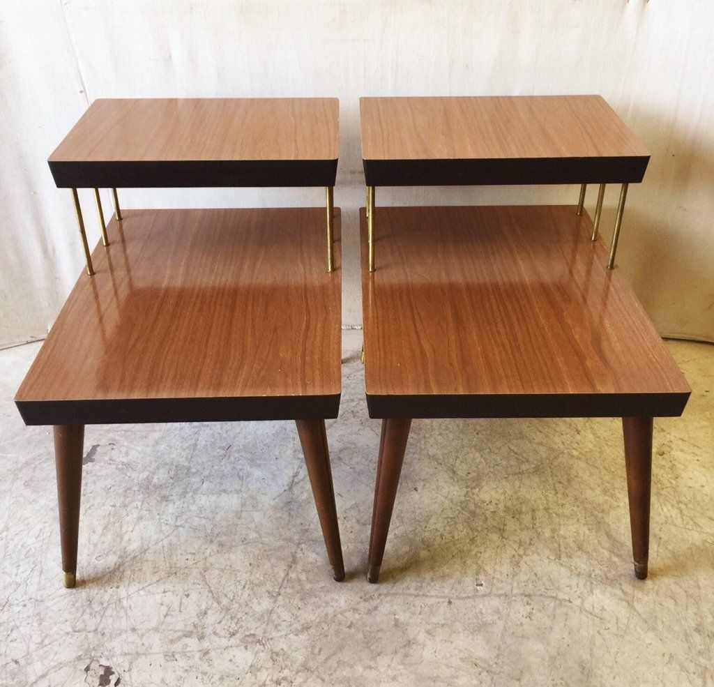Vintage Mid Century Modern Two Tier Side Table With Brass Rods And Leg Caps 150 Side Table Mid Century Modern Wooden Side Table