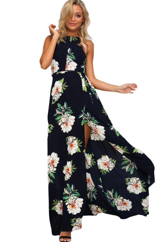 4a70767d210 Robe Boheme Longue Fleurie Impression Noir Fendu Dos Nu  robelongue   robeboheme  robes–