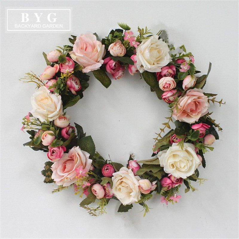 Silk Wearth Rose Artificial Flowers Wreaths Door Perfect Quality Artificial Garland For Wedding Decoration Home Silk Flower Wreaths Flower Wreath Home Flowers